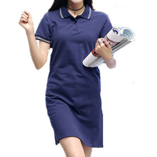 2017 New Fashion Button Brief Striped A-Line Turn-Down Collar Cotton Polo T-Shirt  Summer Navy blue Women Dresses D775104A