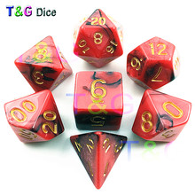 Top Quality Hot 7pcs Mix color Magic Dice Set with Nebula effect dados game rpg juguetes Magic Red Digital Dice(China)
