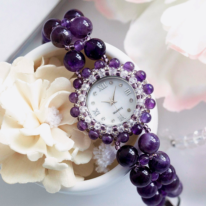 Ladies watch natural amethyst business love good luck fashion bracelet business girl birthday valentines gift waterproof watch<br>