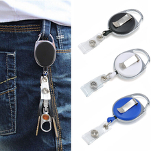 2016 Office Supplies Retractable Reel Black 65CM Steel Cord Keychain Recoil Tag Key Card Holder Belt Clip Multifunction Keychain(China)