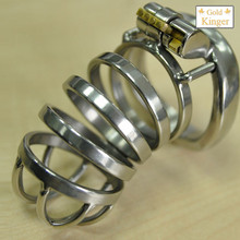 Buy cock cage length 55mm stainless steel male chastity device male cage penis lock arc cock ring bdsm man sex products