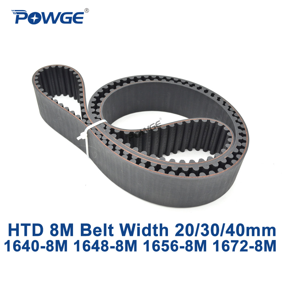 POWGE HTD 8M synchronous Timing belt C=1640/1648/1656/1672 width 20/30/40mm Teeth 205 206 207 209 HTD8M 1640-8M 1656-8M 1672-8M<br>