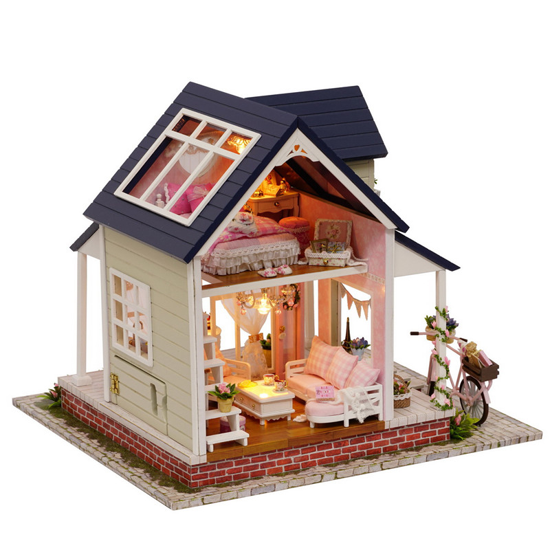 2016 New Brand DIY Doll Houses Wooden Doll House Unisex dollhouse Furniture Miniature Birthday Gifts crafts Kids Toy A060(China (Mainland))