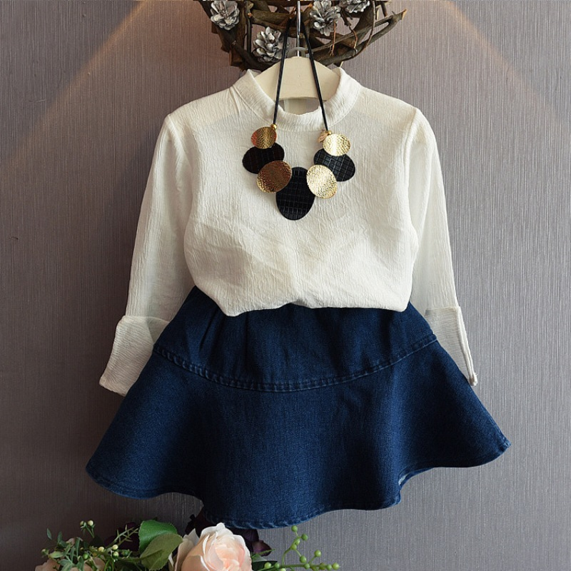 Girl in white shirt sleeve shirt + black denim skirt spring autumn clothes children group of children in school<br><br>Aliexpress