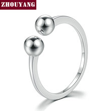 ZHOUYANG New 100% 925 Sterling Silver Rings Simple Smooth Design S925 Adjustable Round Balls Ring For Women Wedding Party RY047
