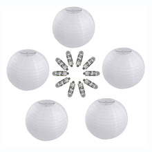 5 Packs 12 Inch Round Paper Lanterns+10 Packs White LED Lights for Party Wedding Paper Lanterns Including Batteries(China)