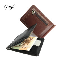 High Quality Credit Card Holder Money Bag Pu Leather Wallet with Zipper Coin Purse Pocket 2017 New Metal Clip Wallet Man