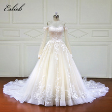 Fairy Boat Neck Long Sleeves Sweet Heart Lace Appliques A Line Bridal Gown Zipper Back High-end Lace Court Tail Wedding Dress(China)
