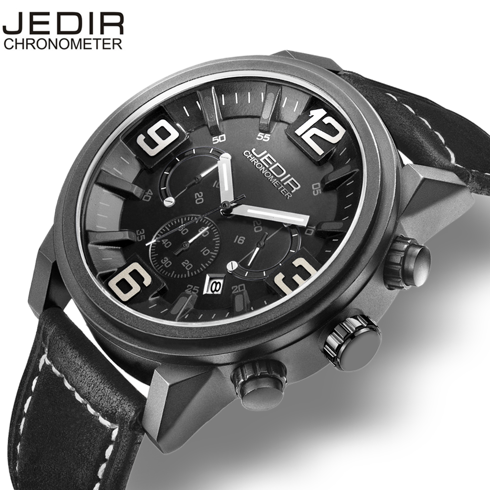 JEDIR 3D Chronograph 6 Hands Date Stopwatch Sport Watch Men Genuine Leather Straps Military Watches Fashion Relogio masculino<br>
