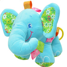 New Animal Elephant in pink Soft Plush Crib Bed Car Hanging Hand Rattles Baby Toys Girl Boy Gift Toys(China)
