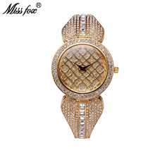Miss Fox 37mm Top Brand Luxury Rhinestone Watch Women Gold Bracelets Bu Relogio Feminino Dourado Mesh Imported-China Reloj Mujer(China)