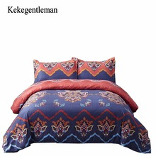 Kekegentleman Bohemia Bedding sets Reversible Color Design Polyester Bedding Set Duvet Cover Flat Sheet and Pillowcases