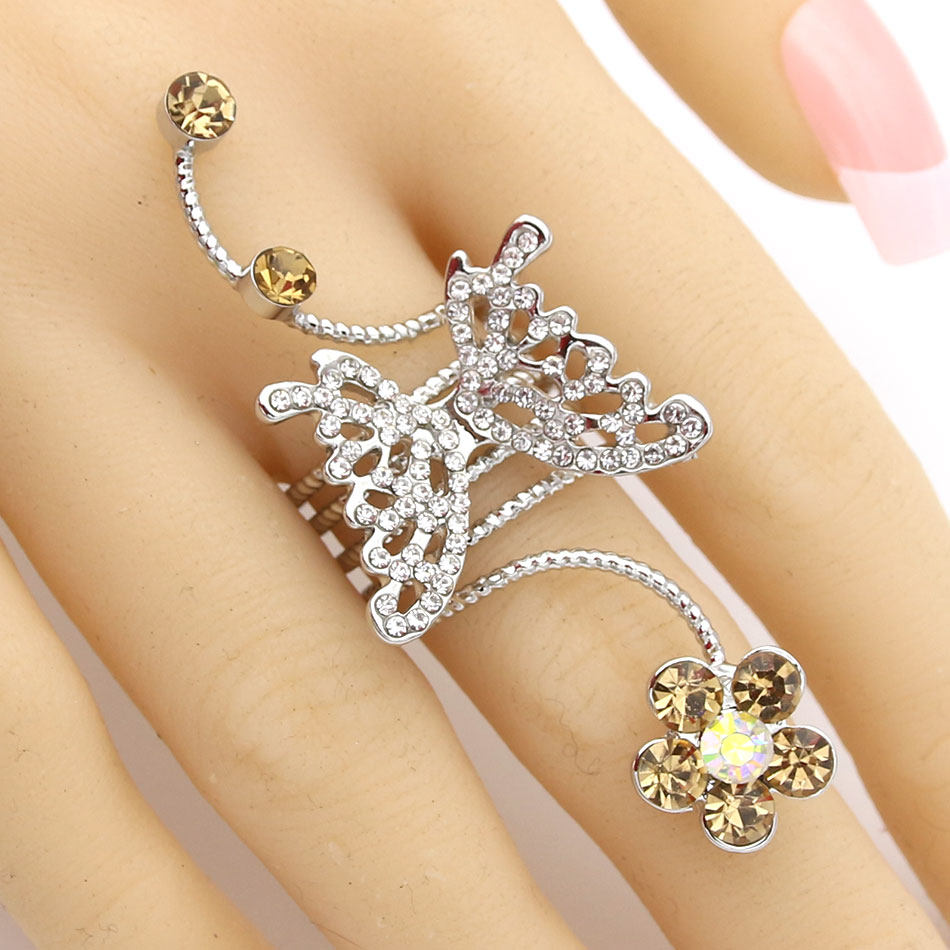Fashion Women Crystal Butterfly Spring Ring Platinum Plated Bridal Jewelry Finger Ring Rhinestone Flower Anel Wedding Party Ring
