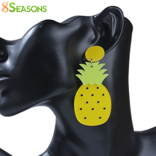 "8SEASONS New Fashion Acrylic Ear Post Stud Earrings Yellow Pineapple/ Ananas Fruit 78mm(3 1/8"") x 34mm(1 3/8""), 1 Pair"