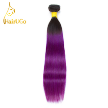 HairUGo Brazilian Hair Extension Human Hair Bundles Ombre Purple Straight Hair Weave 12-24 Inches 1 Piece Only Non Remy Hair(China)