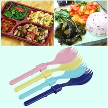 New Cute Camping Hiking Cookout Picnic Foldable Spork Plastic Spoon With Case Popular New