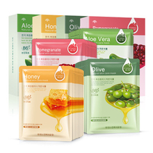 BIOAQUA 10Pcs Face Mask Sheet Mask Aloe Honey Olives Pomegranate Facial Mask Moisturizing Beauty Mask With Box(China)