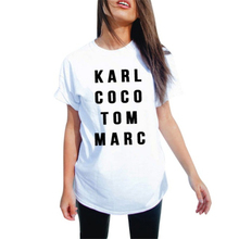 T-shirt Plus size Women Punk Summer Letter Printed White Cotton T shirt karl coco tom marc Fashion Short Sleeve T-Shirts Women
