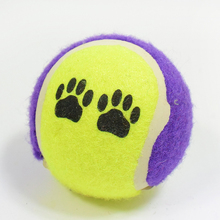Pet Dog Toy Paw prints elastic Rubber tennis Balls Pet Dog Toy Small Pet Toy 6.5cm(China)