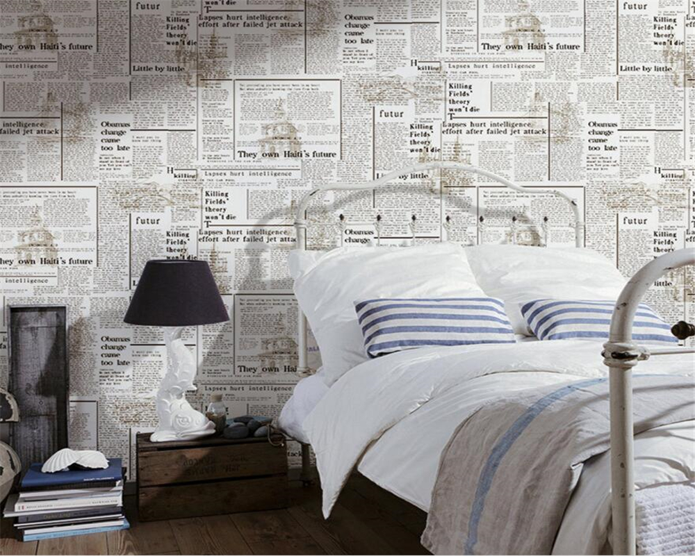 papel de parede Fashion simple wallpaper nostalgic newspaper in English study background wall wallpaper Cafe bars wallpaper<br><br>Aliexpress