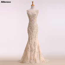 Champagne Sequined Sexy Mermaid Wedding Dress 2017 Real Photo Elegant Wedding Dresses Fancy Bride Dress Lace Long Bridal Gowns(China)