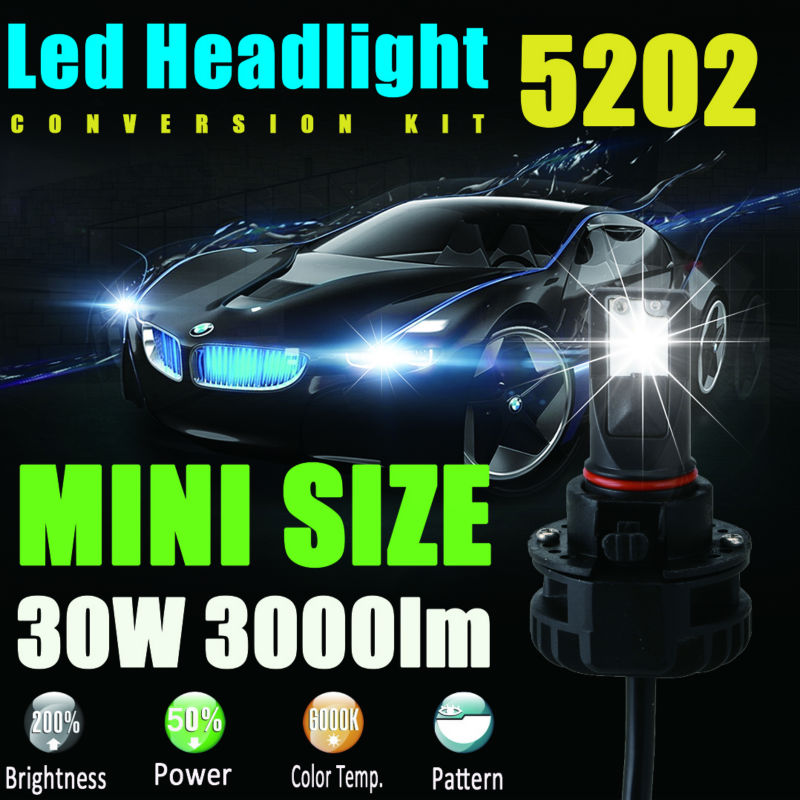 5202(9009/H16/PS24W/PS24WFF) 6000LM LED Headlight Conversion Kit Low beam headlamp Fog Driving Light DRL lamp HID or Halogen<br><br>Aliexpress