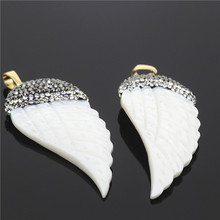 1PC New Popular Style Rhinestone Beads Cap Charms Pendant,White Natural Stone Carving Angel Wing Crystal Agate Necklace Pendant