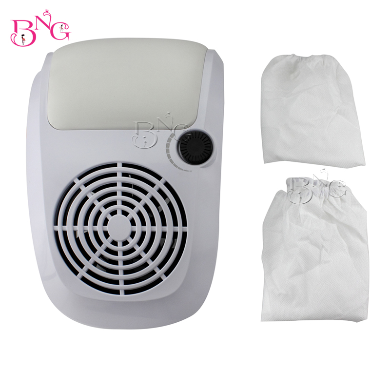 Beauty White Color With Veined Dust Suction Strong Fan Nail Dust Collector With 2 Bags Nail Art Salon<br>