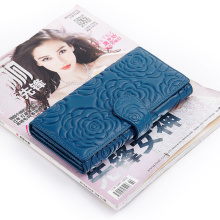European and American Rose Flower Style Genuine Leather High-end Market Large Capacity Practical Women Wallet 3 Color 2017