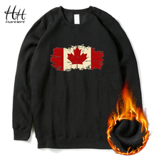 HanHent Fashion Canadian Leaf Sweatshirts Men Fleece O-neck Winter Canada Flag Logo Clothing Gift Printed Hoodies Black AD0570