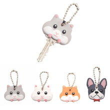 New Cartoon Animal Pattern Keys Cover Cute Mouse Bulldog PVC Key Covers Caps