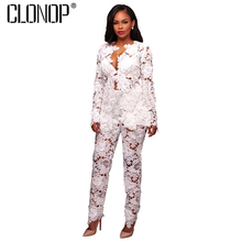 CLONOP 2017 New Autumn Women Sets V-neck Lace Sexy Women's Clothing Solid Hollow Out Long Sleeve Club Set