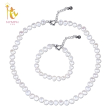 XF800 Pearl Jewlery Set Natural Freshwater Pearl Necklace Bracelet Fine Gift For Women Wedding Anniversary XFT242(China)