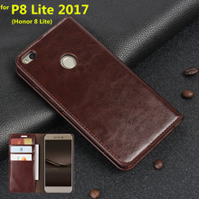 Deluxe Wallet Case For Huawei Ascend P8 Lite 2017 Genuine Cow Leather Case Flip Cover Phone Bags for Huawei Honor 8 Lite