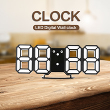 DC - K3 3D LED Digital Wall Clock Modern Design Nightlight Alarm Function for Kitchen Office Home Decoration New Arrival