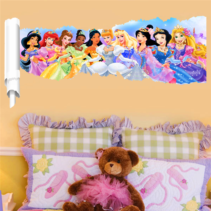 3d effect animation princess wall stickers for kids rooms decor ...