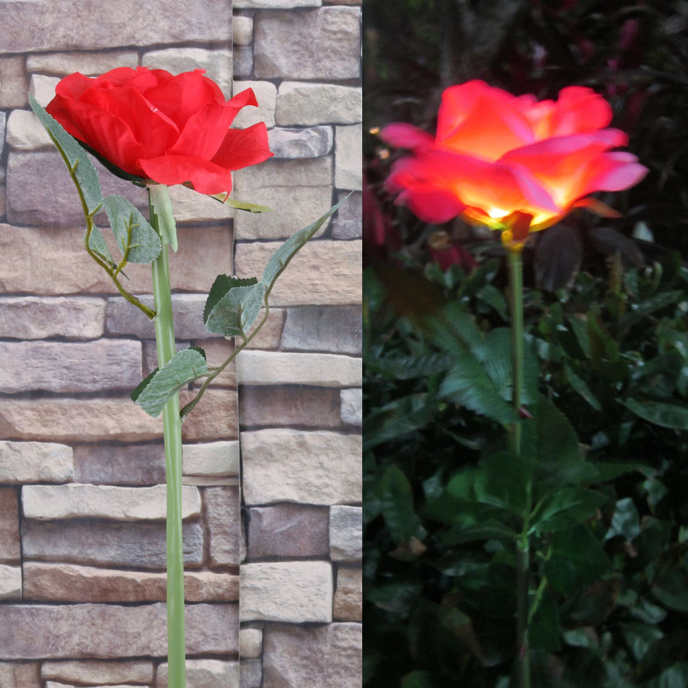 Outdoor Solar Powered LED Light Rose Flower Lamp For Yard Garden Path Way  Landscape Decorative Night