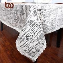 BeddingOutlet Rectangle Tablecloth American Style Black Letters Table Cloth Cotton Line Table Linen Lace Edge Table Cover