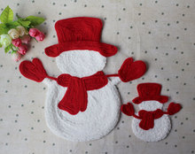 10pcs/lot Snowman motif patch for clothes embroidered applique DIY clothing accessories Christmas gift free shipping