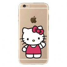 0142 Transparent Silicone Cartoon Cute Hello Kitty cell phone bags case cover for iphone 4S 5S 5C SE 6S 7 PLUS Samsung S3 S4 S5
