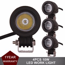 4pcs 10W LED Work Light Offroad Car Auto Truck ATV Motorcycle Trailer Bicycle SUV 4X4 4WD 12V 24V Fog Lamp Spot Flood Headlight