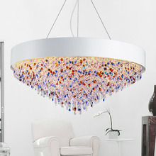 Nordic Crystal Pendant Modern Simple Round Restaurant Lamp Color Crystal LED Pendant Light E14 Base Modern Lighting Fixture(China)