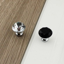 MEGAIRON 1Pcs 30mm Diamond Shape Crystal Glass Clear Cabinet Knob Drawer Pull Handle Kitchen Door Wardrobe Hardware Single Hole(China)