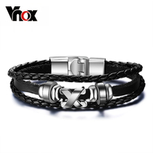 Vnox Promotion men bracelet bangle leather jewelry stainless steel clasp fashion accessories wholesale(China)
