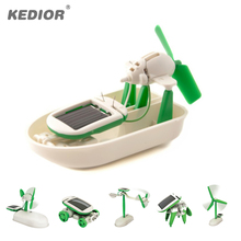 Mini 6 in 1 Educational DIY Solar Toy Car Boat Power Moving Robot Dog Fan Plane Assembling Building Blocks Science Kit