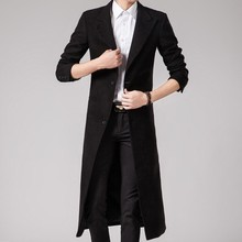 Tailor-made Spring Autumn Winter Men's Fashion Casual Single Breasted Long Trench Coat Jacket Pea Coat Overcoat British Style