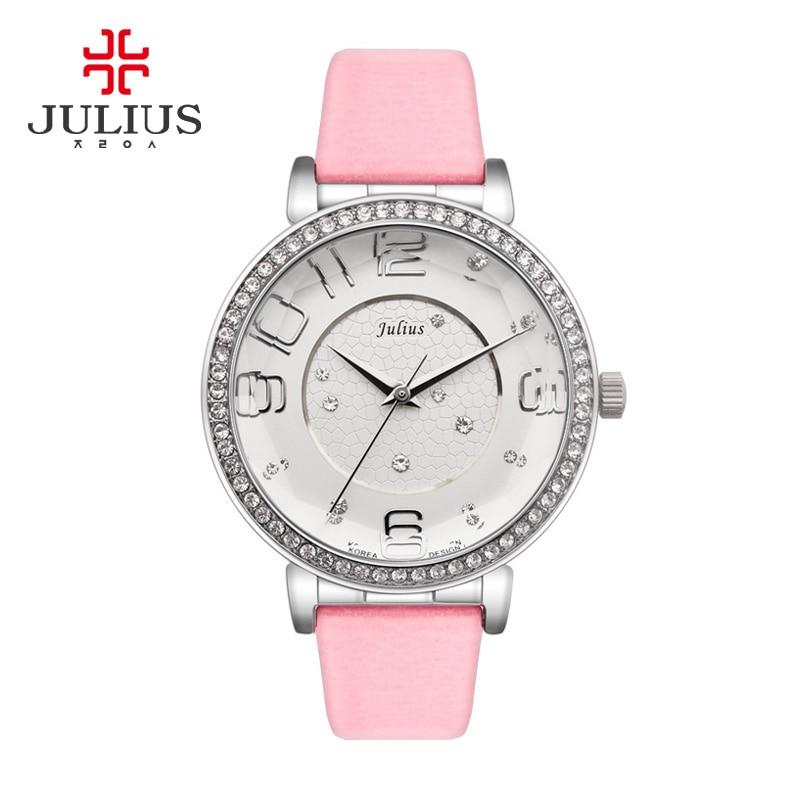 JULIUS Thin Wrist Watch Luxury Concise Simple Surface Pointer Rhinestone Relogio Feminino Fashion Casual Quartz Watch Crystal<br>