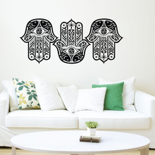 EHome Three OM Sign Hamsa Hands Wall Stickers Vinyl Art Decals Fish Star Moon Pattern Wall Murals Home Decor(China)