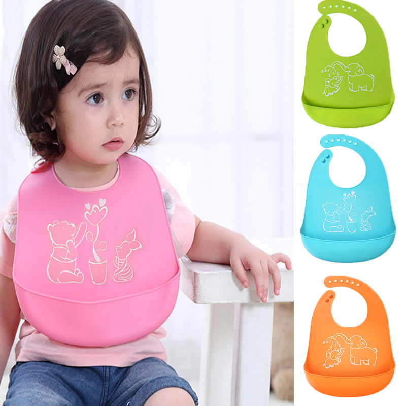 Cartoon Prints Kids Silicon Bib Baby Bib Children's summer Adjustable Waterproof Bib Baby Feeding Tools Boy Girl Bibs apron(China)