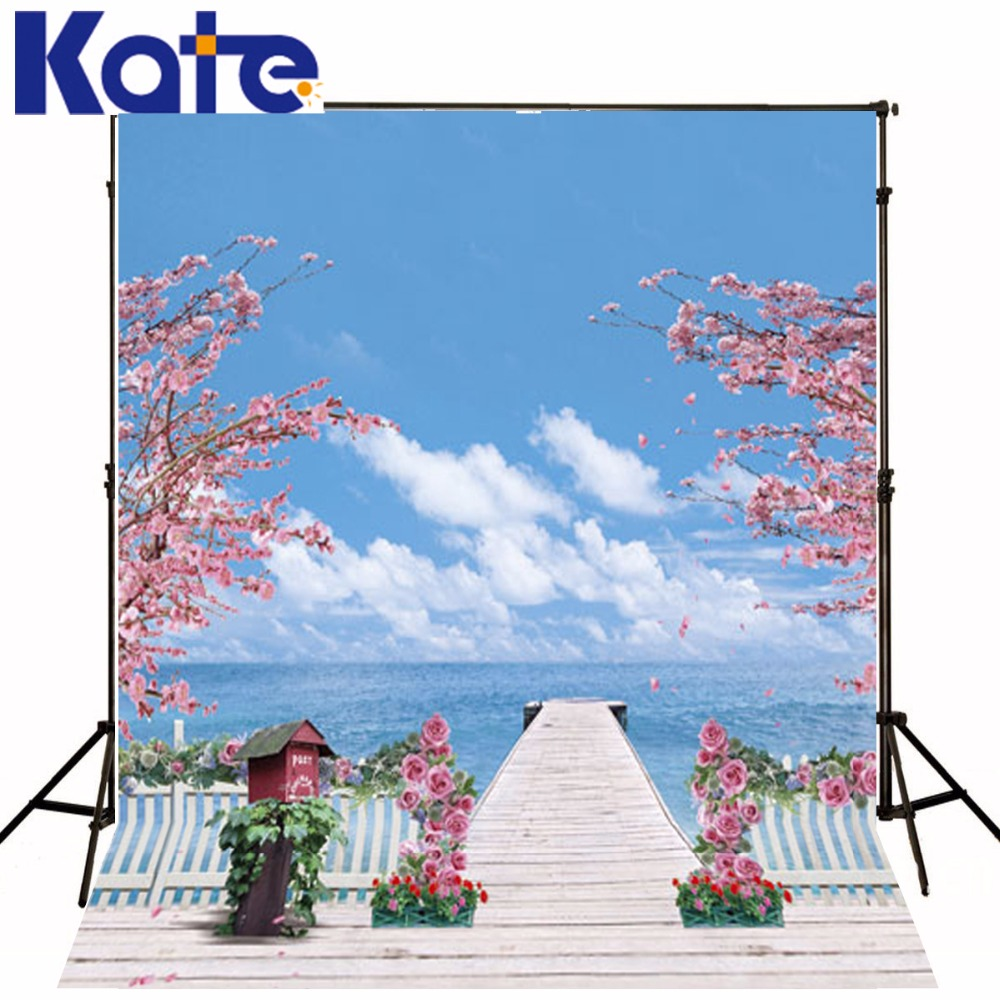 10*6.5Feet(300*200Cm) Photography Backdrops Photography Background Fotografia Photo Background Bridge Potted Trees<br>